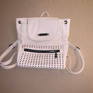Handbags - White studded back pack